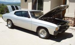 1972 Chevelle SS (Modified Race Car-Street Legal) Summit racing crate engine-ZZ4 (Less than 250 Miles on motor), Roller rockers- 1.5's, Roller cam & lifters, Summit aluminum heads with bigger valve springs, Flat top Pistons- 10:1 compression ratio with