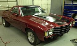 Make: Chevrolet Model: El Camino Year: 1972 Exterior Color: Red Interior Color: Black Vehicle Condition: Excellent Price: $33,900 Mileage:1,000 mi  Description: 1972 El Camino SS 406 CI small block Weiand 142 supercharged (roots