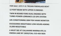 1972 F-31 TROGAN YACHT-FIBERGLASS WHITE WITH A BLACK SCREENED COVER CANVASS. NOT USED ALOT-HAS TWIN-INBOARD TURBO POWER ENGINES. A MUST SEE TO APPRECIATE.NEWLY DONE INSIDE CABIN.