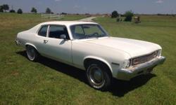 1973 chevy nova, 2 door, L6, runs great, body needs work, interior looks good, has been kept in garage for years, need to make room.