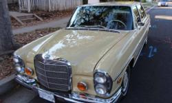 1973 Maple Yellow with Palomino leather not MB TEX 280 sel 4.5 with one previous owner. The car has always been garaged and has a full history including metal data plate. The paint,chrome, rubber door seals, leather and wood are all original with
