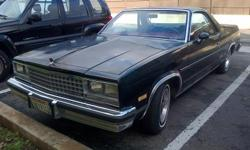 1983 black Chevy El Camino for sale, $8,000 (US)/obo cash. It has not been operable for 1 year, (first time ever), it may need an alternator or something else that would drain the battery. New tires and brand new battery (not hooked up, so it won't be