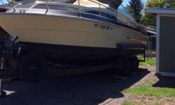 Excellent boat for sale in Kalispell, mt. Includes all canvas Bimini tops and enclosure. Sleeps 4 adults, includes porta pot, shower, working fridge and hot water heater. New trailer tires, 3 marine batteries, antennas and VHF radio. Looking to sell