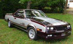Very nice 1985 Chevy El Camino. Real CHOO CHOO, 305 V-8 with 200R automatic overdrive transmission. Same owner for 22 years, from Central Florida. Full power, A/C, power steering & brakes, power windows, AM/FM Cassette, bed rails,
