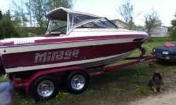 1986 Mirage Maxium sleeper cabin boat. Great family, fishing, play, camping boat. Sleeper cabin sleeps 2 comfortably. Has spot for toilet also. Sell with fish finder, skies, rope, life jackets. 20ft long Mercury Cruiser. 4 cylinder motor. Does 45 mph.