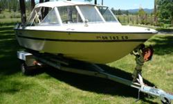 87 16ft. Nordic Aluminum Crestliner boat Mercruiser inboard outboard - three sets of canvas - 1988 Easyloader boat trailer. Boat is in excellent condition and has not been used for two years. Have new battery ready to install.