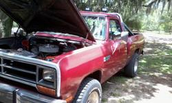 1987 Dodge Power wagon 4x4 Motor= Rebuilt 360 cubic inch W/ Holley Intake Holley Carb. Runs great! Drives better! No A/C