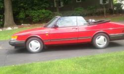 Excellent Condition 1991 Red Saab Turbo Convertible with 60,000 miles. This car was stored in a heated garage during winters.