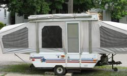 every clean great shape ,I bought camper last summer used it afew times .Has two slide out beds (doubles).table and benches folds down to twin size bed .Has stove and sink .must sell daughter is getting married .It's a very nice camper hate to sell but