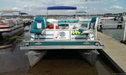 Here we have a 1995 Crest Pontoons 22 Family Fish. This boat has been maintained well over the years and runs great. The floor on this boat is still solid and has no soft spots to be concerned about. Plus this boat has the pedestal