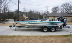 1995 Hydra-Sport LS 205 Bass Boat w/ 225 Evindrude Vindicator runs strong and water ready! Well maintained and recently serviced at Randall Marine (foot oil/ new water pump). Interior updated with new carpets and seats. Purchase includes new Hummingbird