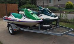 $5000 OBO. 3 Seater 1995 Seadoo GTX, 1999 Seadoo GTX Racing Machine and single axle two place trailer with place for storage. Both PWCs were registered and running great in 2014. New plugs, batteries, good covers. 1995 needs foam near handlebars