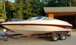 21ft 1996 Crownline, has a 350hp, 5.7L Mercury engine with a stainless steel prop. It also comes with a boat cover and a bimini top. The upholstery and carpeting are free of rips or tears or weathering. It has been winterized every year and kept in dry