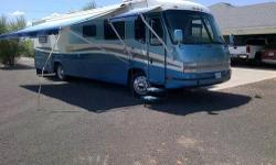 For sale a 1997 Georgie Boy Encounter motorhome. It is 38 feet long with 1 super slide. Has a cat. 275 hp turbo diesel motor, 6 speed Allison electronic shift transmission on a freightliner chassis, with 101000 miles, which is nothing for a diesel, air
