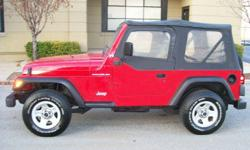 Always been garaged, because the finish is way to good to have set outside,it's entire life. The inside of the jeep is in great shape loaded with air, tilt, carpet, AM/FM-CD, with soundbar so you can hear the stereo even when the top is off There are no