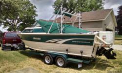 Great Lakes Fishing Boat ....1997 Sylvan 2300 Offshore Fisherman, 4.3 liter Vortec , w/ electronic Thunder bolt ignition, Mercruiser Alpha One, 23 feet long 8 1/2 ft beam!! Trailmaster Trailer w/ brand new Galvanized rims, surge brakes, Bearing