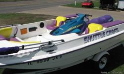 1998 ShuttleCraft CSL This isA JetSKi Perpelled Boat. Has 3 storage compartments, a Radio with a cover over it. Seats up 5-6, and has a canopy. (15' Long-680 lbs.) powered by a... 1997 Yamaha Wave Runner 760 Which is 9' long,