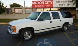 1999 Chevrolet Suburban LT 1500 Sport Utility 4dr. V8 5.7 Liter Engine, Automatic Transmission, 2 Wheel Drive, Air Conditioning, Rear AC, Power Steering, Power Windows, Power Door Locks, Tilt Wheel, AM-FM Stereo Cassette, Compact Disc Player, Dual Front
