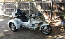 """1999 Honda Goldwing SE 50th Anniversary with California Sidecar Conversion CB, AM/FM, Cassette Air wings Trailer receiver hitch with 1-7/8"""" ball Pearl White Ring of Fire on front wheel"""