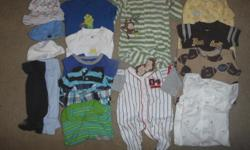 19 pieces of never/gently used 3 month boys clothing. Smoke and pet free home. Includes: 5 footless PJ sleepers 2 PJ footie sleepers 2 onsies 4 shorts rompers 2 pants 4 hats Any questions/more pictures e-mail or text me anytime --. Thanks!