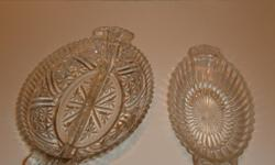 2--1930's Clear Glass Candy Dishes   no websites..........you pickup or you pay for packaging and shipping   50.00 or best offer all reasonable offers will be reviewed