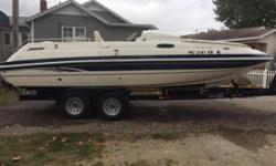 2000 Harris Kayote Super226 Sundeck22' in length, 5.7 LITRE Mercury MerCruiser engine. Vented cover is 2 years old. Snap in carpet. Seats 10-12, NEW custom trailer. $14.900
