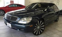 "CLICK FOR FULL INVENTORY: http://5starautos.net/ 916-368-7886 3500 DOWN ! NO CREDIT OK!!! WE DO NO CREDIT CHECK & NO INTEREST FINANCING!!! 2000 MERCEDES S500 AMG PACKAGE! TEAL 4DR LUXURY SEDAN! ALL POWER! LEATHER! LOADED! MANAGER SPECIAL! 22"" RIMS W/LOW"