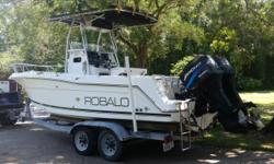 2000 Robalo 25' Center Console & Galvanized Trailer, Twin 150 Ocean Mercs with Stainless Props, Canvas Storage Cover, New Fishfinder/GPS/Map Electronics, Marine Radio, Remote Spot Light, Has Radar but needs new screen. Has Marine VHS Two Way Radio. Comes