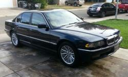 Moving and need to sell my 2001 BMW 740I. I had the car for one year and did many repairs to get it 100% with no additional repairs needed. It runs excellent and is fully loaded. The mileage is 169,000. It is midnight blue and has leather interior in