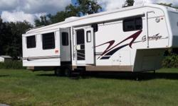 2001 Carriage LS 5th wheel. Sleeps 4. Has two air conditioners, 38feet, with three slides. New tires and out side was refinished with new decals last year. Great condition! Must see to appreciate! Also have Ford F350 7.3 power stroke disel