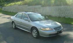 2001 Honda Accord EX 4D Sedan, one owner, 74,600 miles, Silver Exterior/Gray Leather Interior. Automatic, Sunroof, Rear Spoiler, 6 Disk (in-dash) CD Changer, Power Adjust Driver Seat, Heated Front Seats, Dual A/C, Keyless Entry/Alarm System, Aluminum Rims