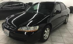 CLICK FOR FULL INVENTORY: http://5starautos.net/  916-368-7886  1500 DOWN ! NO CREDIT OK!!! WE DO NO CREDIT CHECK & NO INTEREST FINANCING!!!  2001 HONDA ACCORD EX 4DR BLACK!* GREAT MPG! SUNROOF* FAMILY SIZE* DRIVES NICE! PASSED SMOG! AND