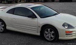 White Mitstubishi Eclipse with sunroof, 126,000 miles. Has CD player and A/C works fine.The only problem is the heater does not work.Car has salvage title. Make me an offer!
