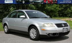 2001 VW PASSAT GLS 4 MOTION ONLY 69K MILES! 1 Owner! Grey Heated Cloth Interior Power Windows/Locks and Mirrors! V6 Automatic Transmission Ice Cold A/C Great tires Silver exterior Factory Books/Mats and Keys! VIN WVWSH63B41P210692 BANK FINANCING AVAILABLE