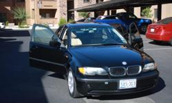 Black BMW with tan leatherette interior.  Very good condition with only 90k miles.  New rotors and brakes and regularly maintenanced.  Great driving car, runs smooth and has no motor issues.  Interior in good condition, no stains or