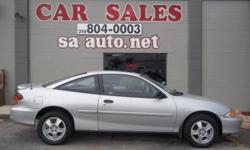 2002 CHEVY CAVALIER LS COUPE SILVER WITH GREY COLTH INTERIOR, SUNROOF , AUTOMATIC TRANSMISSION , 129,545 MILES, GOOD TIRES, GREAT ON GAS, CLEAN BODY! FOR MORE INFO AND TO SEE MORE PHOTOS GO TO SAAUTO.NET OR CALL FOR APPOINTMENT 210-804-0003 ASK FOR MIKE