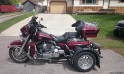 Voyager Trike Kit. Low mileage 57087. Stage one exhaust. Many Ultra upgrades. Extra Chrome. Well maintained with extra work done. Willing to sell as a unit or separate. Ready to ride anywhere!!! Bought new bike so need to sell this one. Please call Wayne