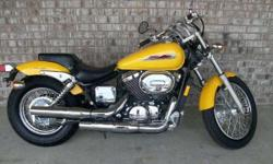 Yellow 2002 Honda Shadow Spirit 750 Garage kept and recently serviced 6,400 miles Only selling because I got a new bike $3,500.00 firm (361) 852-4949