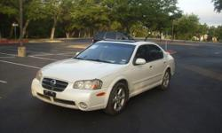 02 Nissan Maxima GLE 4 door sedan has 144k miles Leather seats power windows and locks cruise control alloy wheels Cd changer tape player Bose sound system power seats sunroof rear spoiler pearl white color runs and drives great asking $4500 please call