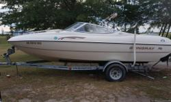 2002 Stingray cuddy cabin!! Just in time for FOURTH OF JULY!! READY FOR WATER!! NEEDS NOTHING!! 4 cylinder Mercruiser 130 hp inboard outboard motor.Replaced raw water pump in alpha drive last fall!! RUNS GREAT!! Trailer is original and is in great shape