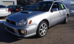 2 owners, clean Auto Check history! 2002 Subaru Impreza WRX AWD Wagon, silver with black/blue cloth interior, 5 speed manual, 265k miles. Purchased by the prior owner at 9k miles! Power windows, power locks, power mirrors, AMFM CD, A/C, cruise, tilt, rear