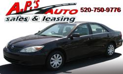 CLICK HERE FOR MORE IMAGES AND INFO: http://www.apsautosales.com/vehicle-details/5ee0481551434386aaa0934b782b7314 (520) 750-9776 A.P'S Auto Sales 3747 E. Speedway Blvd. Tucson, AZ 85716 2002 Toyota Camry 4-Door Sedan Title: Clear Fuel: Gasoline Interior