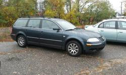 2002 Vw Passat GLS Wagon Blue w/ Gray Leather 1.8Turbo Engine, 5-Speed, 128k Cassette, Roof Rack, Rear Wiper  Located at: Cars R Us of Kingston 72 Route 125 Kingston, NH 03848 *** Trades Welcome, Financing Available *** All Major Credit / Debit