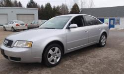2003 Audi A6 3.0 Quattro Sedan, Silver with black leather interior, automatic, 133k miles, 3.0 liter 6 cylinder, power windows, power locks, power heated mirrors, power heated seats with lumbar adjustment, sunroof, AMFM CD/Tape, A/C, dual climate