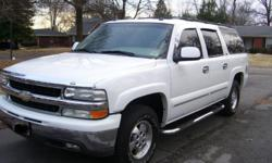 2003 Chevrolet Suburban 1500 LT in Excellent Condition: 5.3 Liter Engine, 265/70R16 Bridgestone Duellers with 90% tread left. This vehicle is in great shape with all highway miles. Remote Start, Keyless Entry, Leather Interior, Quad Captains seats, Third