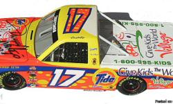 Mint condition with all the packaging and the clear display case for the Tide Race Truck. This is a limited Edition and signed by Darrel Waltrip on the engine hood with a Sharpe. Opening engine hood, rubber tires, and turning front wheels. Highly