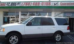 2003 FORD EXPEDITION XLT 7 PASSENGER LEATHER, FULL POWER, DVD, TOW PACKAGE, WHITE EXTERIOR, TAN INTERIOR. PERFECT FAMILY SUV, SUPER CLEAN INSIDE AND OUT! IF YOUR CREDIT IS GOOD OR BAD FRESH START MOTORS CAN GIVE YOU A SUPER DEAL ONTHIS EXPEDITION. WE HAVE