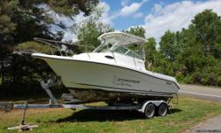 Amazing boat in great shape trailer and all..tires 75 percent...200hp saltwater series Yamaha..no holes ever drilled in boat for fishing equipment..