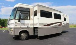 Exteriors The body of the RV is made up of aluminum with fiberglass sidewall construction. There is one door for access inside the motorhome and features 2 slide-outs. These slide-outs are power operated and retractable. Entry steps are also power