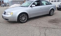 2004 Audi A6 2.7T S-Line Quattro Sedan, silver with black leather interior, automatic, 2.7 liter 6 cylinder turbo, 143k miles, fully loaded with power windows, power locks, power heated mirrors, power heated seats, heated rear seats, auto dim mirrors,